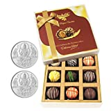 Chocholik Belgium Chocolates - 9pc Heavenly Treat Of Truffles With 5gm X 2 Pure Silver Coins - Diwali Gifts