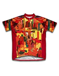 Orange Abstract Short Sleeve Cycling Jersey for Women