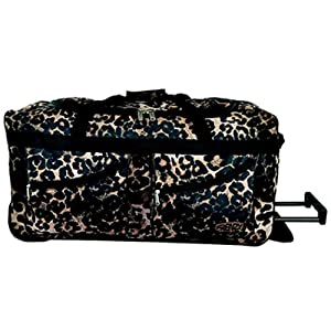 Large Leopard Print Wheeled Holdall With Zip Away Trolley Handle 2 External Pockets Heavy Duty Wheels