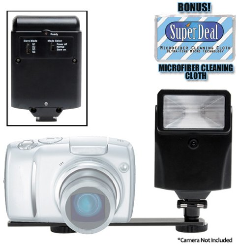Digital Auto Slave Flash with Bracket Set For The Olympus E-520, E-510, E-500, E-30, E-3, E-330, E-300, E-1, C-8080, C-7070, C-5060 Digital Cameras with Exclusive FREE Complimentary Super Deal Micro Fiber Lens Cleaning Cloth