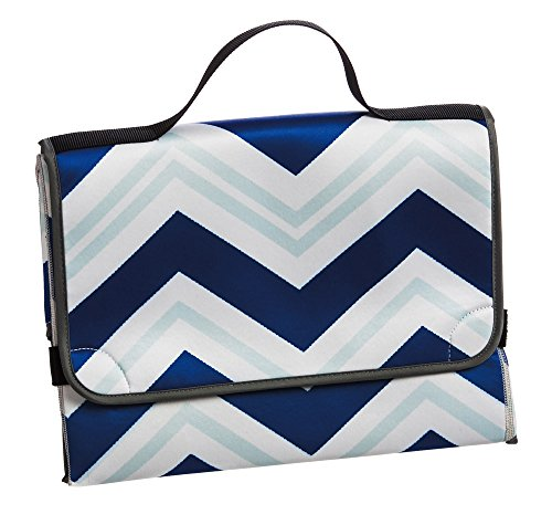 Blue Chevron Diaper Changing Pad and Bag