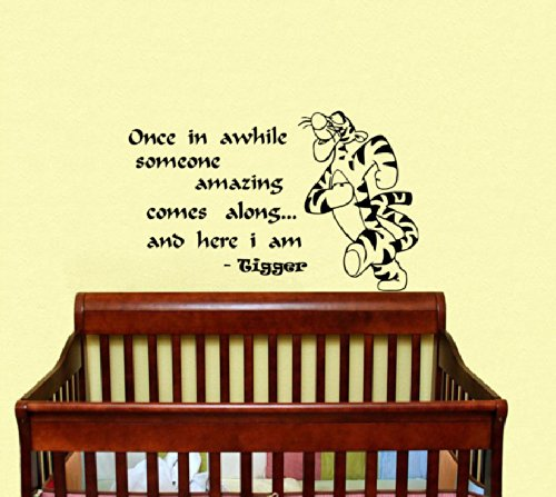 Housewares Vinyl Decal Winnie The Pooh Quote Once In Awhile Someone Amazing Comes Along And Here I Am Tigger Home Wall Art Decor Removable Stylish Sticker Mural Unique Design For Room Baby Kid Nursery front-150766