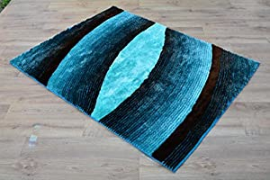"Shaggy Rug Teal Blue 963 Plain 5cm Thick Soft Pile 80cm x 150cm (2ft 6"" x 5ft 0"") Modern 100% Berclon Twist Fibre Non-Shed Polyproylene Heat Set - AVAILABLE IN 6 SIZES by Quality Linen and Towels by Quality Linen and Towels"