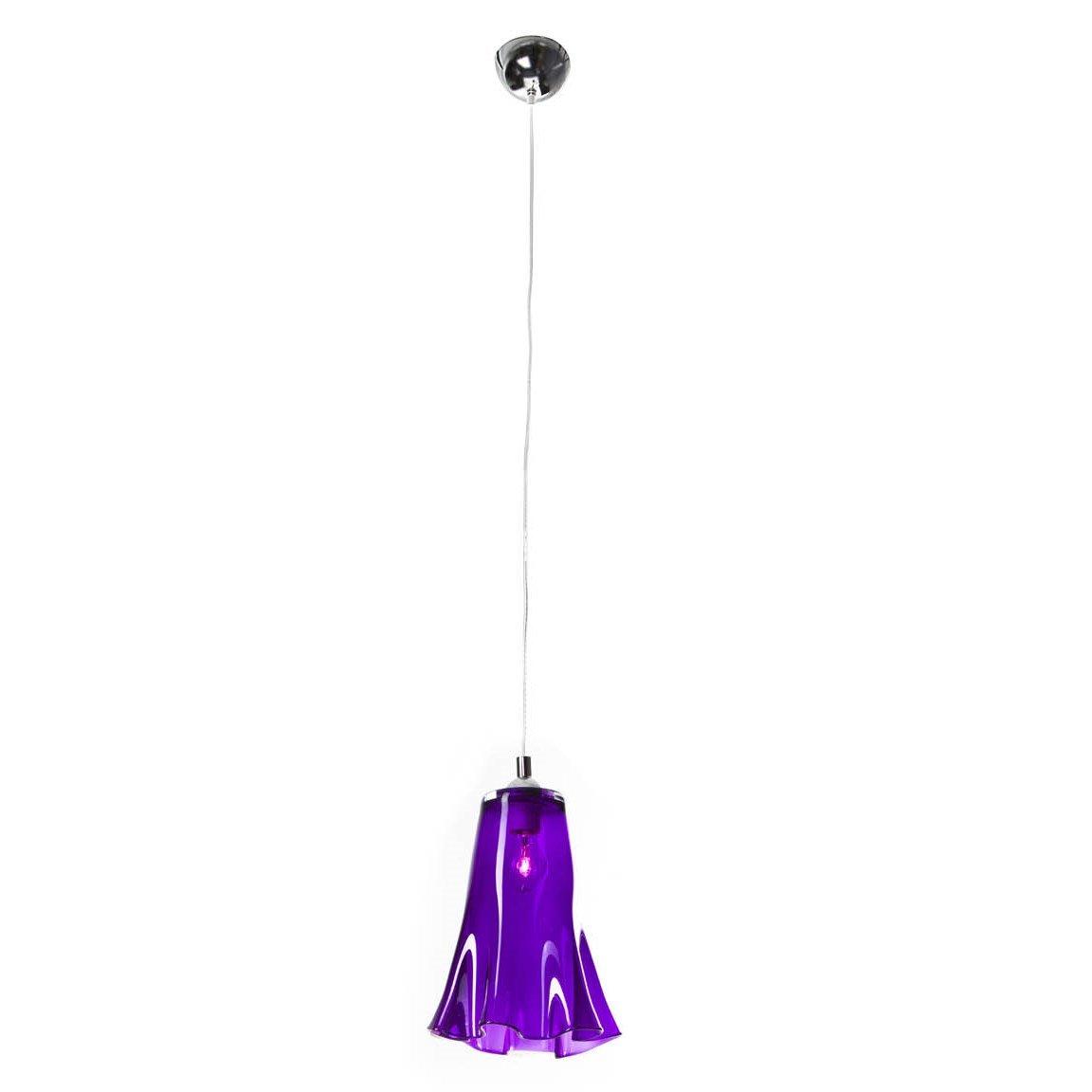 SIGNATURE HOME COLLECTION Deckenhängelampe mit gewelltem Glasschirm, Hängeleuchte, 21 x 21 x 30 cm, Gesamthöhe maximal 120 cm, Glas violett durchscheinend CO-121-ME