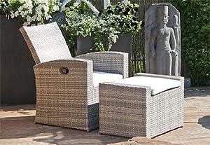 lounge chair footstool bronte grey poly rattan garden. Black Bedroom Furniture Sets. Home Design Ideas