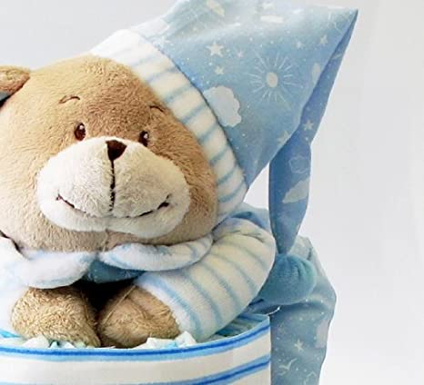 windeltorte blau xxl mit namen und spieluhr b r geschenk zur. Black Bedroom Furniture Sets. Home Design Ideas