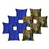 MeSleep 5 Pc Peacock Digital Cushion Cover And 5 Pc Blue Quilted Cushion Cover