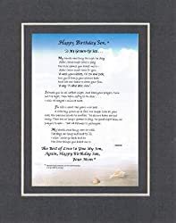 Personalized Touching and Heartfelt Poem for Sons - To My Grown-Up Son . . . Poem on 11 x 14 inches Double Beveled Matting