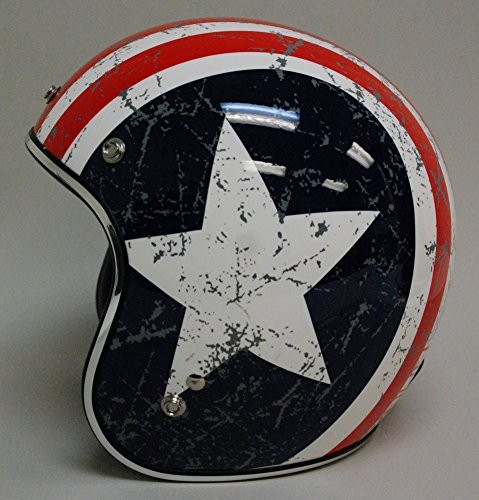 TORC (T50 Route 66) 3/4 Helmet with 'Rebel Star' Graphic (White, Large) 3