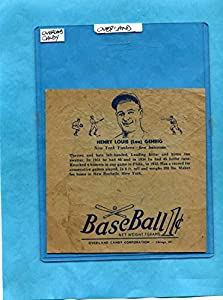 Buy 1938 R301 Overland Candy Baseball Wrapper Lou Gehrig NY by Dan's Vintage Cards