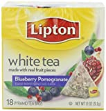 Lipton Pyramid Tea Bags, White With Blueberry Pomegranate, 18 Count Tea Bag