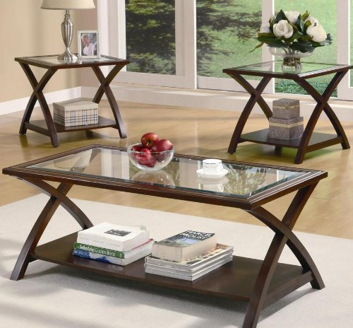 3PC Modern Coffee Table Set With Glass Top Coffee Table And Two End Tables In Cappuccino Finish. (Item# Vista Furniture CF701527)
