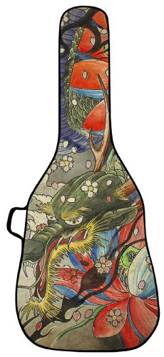 Boldface Acoustic Guitar Custom Printed Gig Bag Case With Replaceable Face Panel. Swap Face Panels To Change Your Bag Design. Graphic Design For This Gig Bag Face Includes A Dragon Tapestry Gig Bag Image.