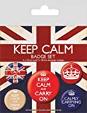 Motivational Badge Pack - Keep Calm And Carry On, 1 X 38mm & 4 X 25mm Badges (6 x 4 inches)