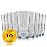 Highball Drinking Glasses, Set of 10 - Clear Glass Elegant Honeycomb Design, 17 Oz. (BPA Free and Dishwasher Safe)