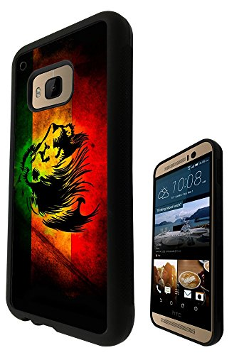 Rasta Lion Jamaican Style Design htc One M9 Fashion Trend SILICONE GEL RUBBER CASE COVER Full Sides and top Case