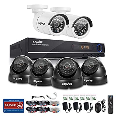 SANNCE 8CH Full 720P CCTV DVR & Security Camera System w/ 6x 900TVL Night Vision Surveillance Cameras, IP66 Weatherproof , P2P Technology/E-Cloud Service, QR Code Scan Remote Access No HDD