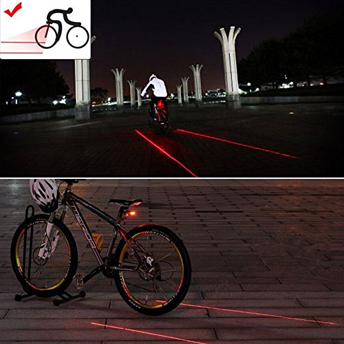 Candance 2 Laser + 5 LED 7 modes super lighting Cycling Bicycle Bike Taillight Warning Flashing Lamp Alarm Light/Bike Brightz LED Bicycle Safety Light Lightweight Fashion Accessory LED Bicycle Safety Light Lightweight Accessory in pair for Mountain Bike Bicycle Cycling Water Resistant Rear Lights Bicycle Cycling Water Resistant MTB Rear Lights/Laser generated bike lane (Red 2 Parallel lines)