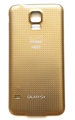 OEM Gold Color Battery Door Back Cover with Waterproof Rubber Seal Gasket Replacement for Samsung Galaxy S5 SM-G900V with Verizon Logo (S5 Back Cover Replacement Gold compare prices)