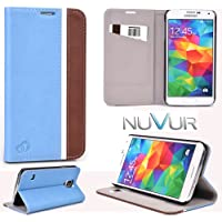 Samsung Galaxy S5 At&T Cover Case Flip Stand (Baby Blue Brown) Nu Vur |Sgs5 Ccb2|