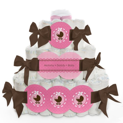 Baby Diaper Cake - Girl Baby Carriage - 3 Tier front-685272