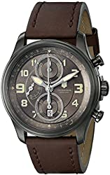 """Victorinox Men's 241520 """"Infantry"""" Stainless Steel Automatic Watch with Brown Leather Band"""