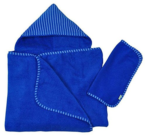 Green Sprouts Brights Organic Terry Hooded Towel and Washcloth Gift Set, Royal One Size, 2 Count - 1
