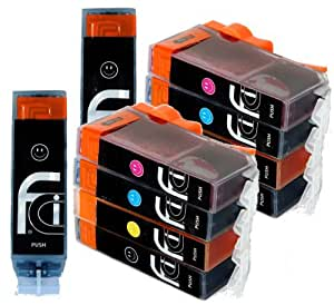 10x Canon PGI-550 XL / CLI-551 XL FCI Compatible Printer Ink Cartridges (Contains: 2x 550BK Large Black, 2x 551C Cyan, 2x 551M Magenta, 2x 551Y Yellow, 2x 551BK Small Black) for Canon Pixma ip7250, iX6850, MG5450, MG5550, MG5650, MG6450, MG6650, MX725, MX925 printers, Double Capacity Inks Cartridge