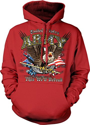 US Army, This We'll Defend, Eagle with American Flag Hooded Sweatshirt, NOFO Clothing Co. XL Red (Vietnam Service Flag compare prices)