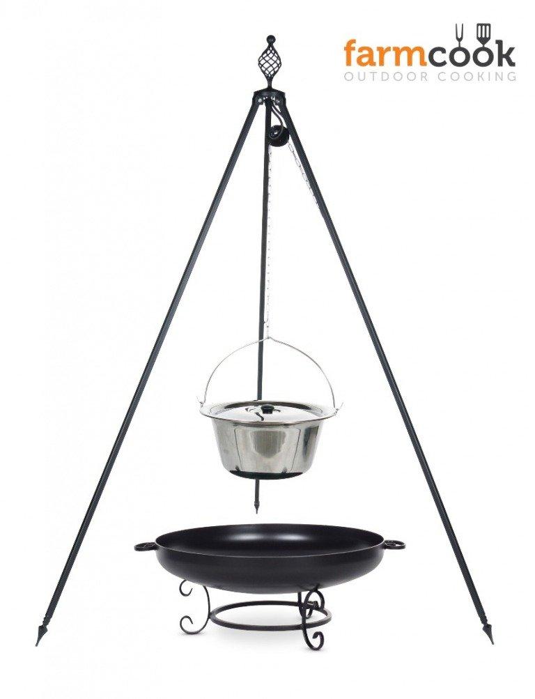 Dreibein Grill OSKAR Höhe 210cm + Topf 8 Liter aus Edelstahl + Feuershale Pan42 jetzt kaufen
