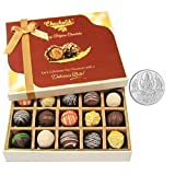 Chocholik Belgium Chocolates - Sweet Treat Of 20pc Truffle Box With 5gm Pure Silver Coin - Diwali Gifts
