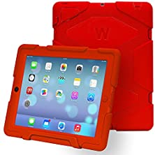 buy Ipad Cases,Ipad 2 Case,Ipad 4 Case,Travellor®[Heavy Duty] Ipad Case,Three Layer Armor Defender And Full Body Protective Case Cover With Kickstand And Screen Protector For Ipad 2/3/4 - Red