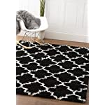 Black & White Trellis Shag Rug, 3-Feet 2-Inch by 5-Feet, 3x5 Solid & Thick Stain-Resistant Entry Way Rug