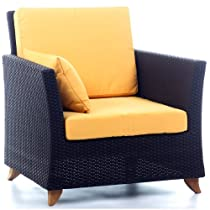 Image of Rattan Wicker Deep Seating Arm Chair w/Cushion