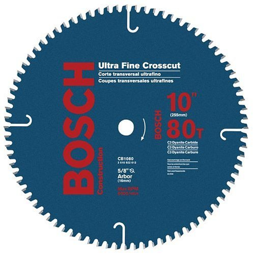 Bosch CB1080 10-Inch 80 Tooth ATB Crosscutting Saw Blade with 5/8-Inch Arbor