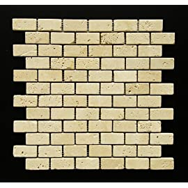 Light 1 x 2 Tumbled Travertine Brick Mosaic Tile