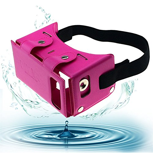 """Sminiker Waterproof Google Cardboard Kit,PU leather DIY 3D Glasses,3D Vr Virtual Reality Glasses,Google Box for iPhone Samsung and Other 4.0-5.5"""" Smartphones(Pink)"""