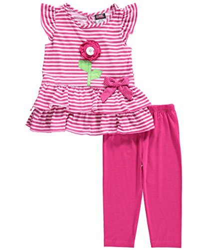 "Angel Face Little Girls' Toddler ""Button Flower"" 2-Piece Outfit"