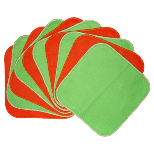 Planet Wise Flannel Wipes, Lime/Tangerine