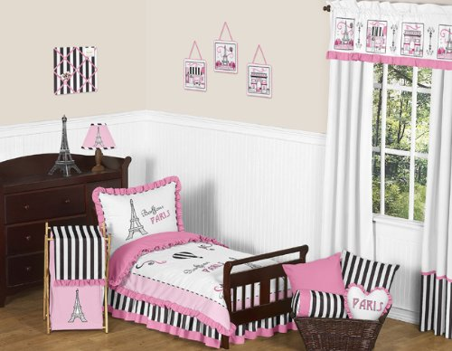 Pink, Black And White Stripe French Paris Toddler Bedding 5 Piece French Eifell Tower Set By Sweet Jojo Designs front-462536