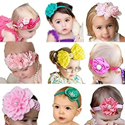 Qandsweet Baby Girl\'s Beautiful Headbands (9 Styles Bows)