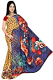 Rukmani Silk Mills Georgette Material, Light Yellow, Orange and Blue Colored Floral Print Fashion Sari