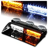 KAFEEK 16 LED High Intensity LED Law Enforcement Emergency Hazard Warning Strobe Lights for Interior Roof / Dash / Windshield with Suction Cups(White/Amber)