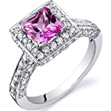 Revoni Princess Cut 1.00 Carats Pink Sapphire Engagement Ring in Sterling Silver Size N,