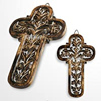 Medieval Gears Brand Wooden Burnt Antique Medieval Knight Cross Cutout Five Keychain Holder Rack Plaq