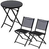 3点セット ガーデンテーブル&チェア2脚セット 折りたたみ ガーデンファニチャー セット 〔丸形〕 ブラック
