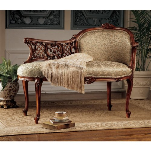 Solid Mahogany French Boudoir Antique Replica Chaise Lounge 0
