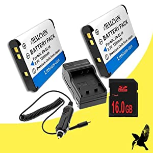 Two Halcyon 1200 mAH Lithium Ion Replacement Battery and Charger Kit + 16GB SDHC Class 10 Memory Card for Nikon Coolpix S6500 16 MP Digital cameras and Nikon EN-EL19