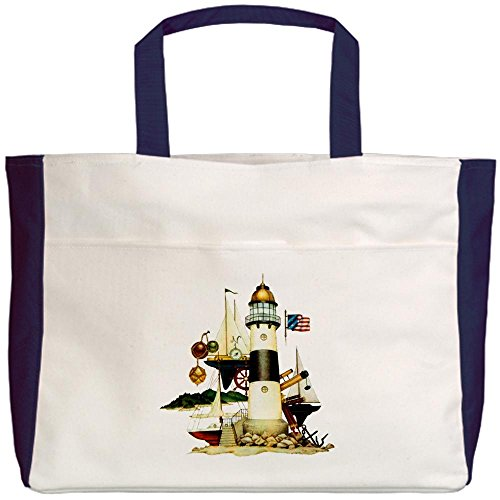 Royal Lion Beach Tote (2-Sided) Nautical Lighthouse Telescope Anchor