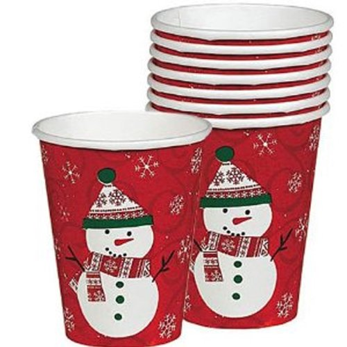 Very Merry Snowman Paper Cups 8ct